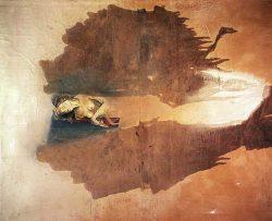 """""""Avec Piero di Cosimo""""1998 technique mixte sur papier marouflé sur toile (200 x 180 cm)"""