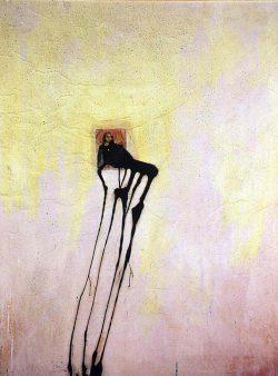 """""""Avec Giotto""""1997 technique mixte sur papier marouflé sur toile (110 x 130 cm)"""
