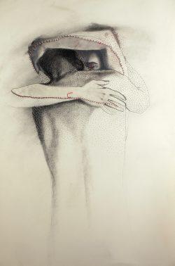 """""""Sans titre"""" 2011 calque, graphite, perforations  et couture (80 x 120 cm)"""