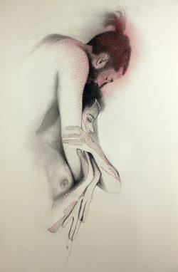 """""""Sans titre"""" 2011 graphite, calque,  perforations et couture (80 x 120 cm)"""