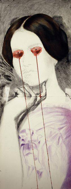 """""""Avec Ingres""""2014 huile, encre et crayon de couleur (25 x 84 cm)"""