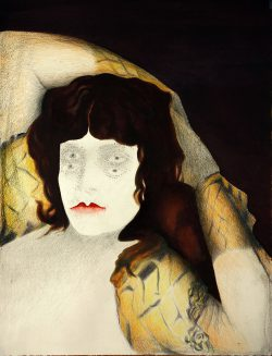 """""""Avec Goya""""2014  huile, graphite et crayon de couleur (50 x 38 cm)"""