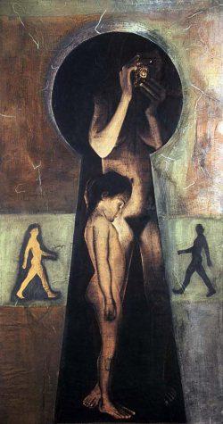 """""""Autoportrait"""" 2000 technique mixte sur papier marouflé sur toile  (113 x 220 cm)"""