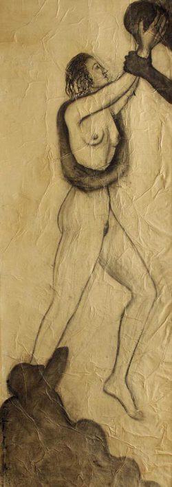 """""""Sans titre"""" 2008 fusain sur papier marouflé sur toile (100 x 220 cm)"""