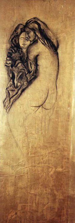 """""""Sans titre"""" 2005 fusain sur papier  marouflé sur toile (100 x 220 cm)"""