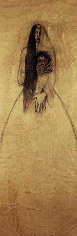 """Marie, Marie -Madeleine, véronique""""2004 fusain sur papier marouflé sur toile (100 x 220 cm)"""