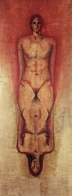 """""""Sans titre"""" 2003 fusain et sanguine sur papier marouflé sur toile  (100 x 220 cm)"""