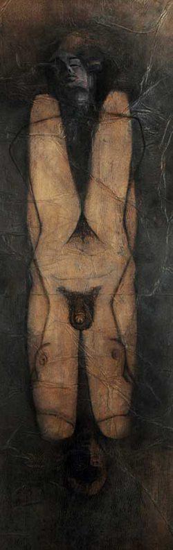 """""""Sans titre"""" 2003 fusain et pastel sur papier marouflé sur toile (100 x 220 cm)"""