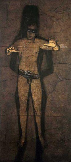 """""""OEdipe""""2004 fusain sur papier marouflé sur toile  (100 x 220 cm)"""