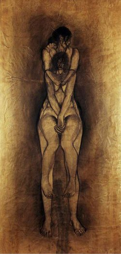 """""""Sans titre"""" 2005 fusain sur papier marouflé sur toile (105 x 220 cm)"""