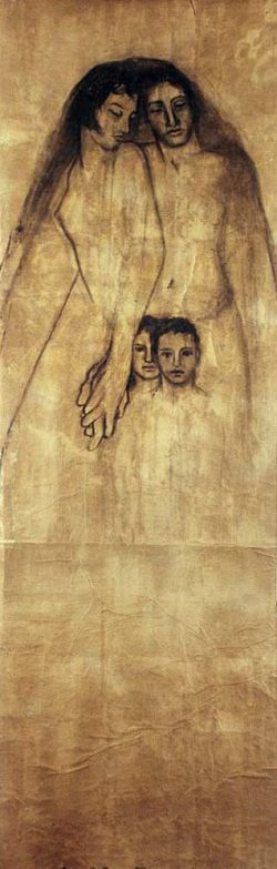 """""""La famille"""" 2004 fusain sur papier marouflé sur toile  (100 x 220 cm)"""