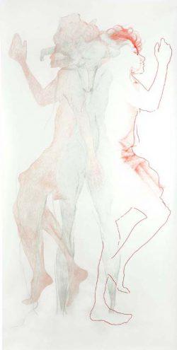 """""""Sans titre"""" graphite, crayon de couleur et broderie  (113 x 220 cm)"""
