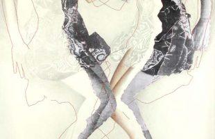 """""""Face à face"""" 2009 graphite,photo cousues et crayon de couleur (113 cm x 220 cm)"""