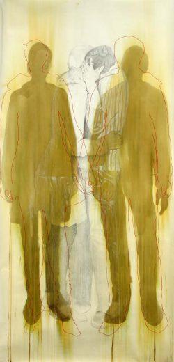"""""""Sans titre"""" 2008 encre,graphite et broderie (113 cm x 220 cm)"""