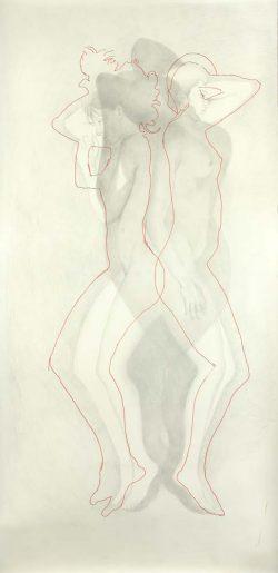 """Ombre"" 2008 graphite et broderie 113 x 220 cm"