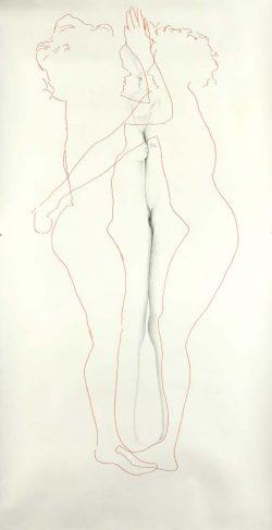 """""""Sans titre"""" 2009 graphite et broderie (113 x 220 cm)"""