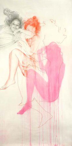 """""""Rose"""" 2008 encre,graphite et crayon de couleur  (113 x 220 cm)"""