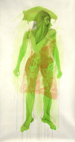 """""""Verte"""" 2008 encre, graphite et crayon de couleur (113 x 220 cm)"""