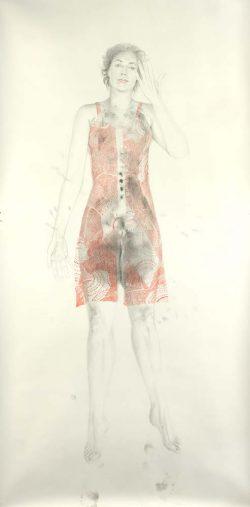 """""""Hélène"""" 2007 empreinte et crayon de couleur  (113 x 220 cm )"""