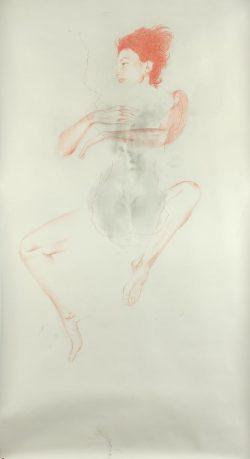 """""""Sans titre"""" 2008 graphite ,crayon de couleur et broderie (113 x 220 cm)"""