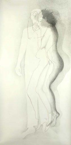 """""""Sans titre"""" 2009 graphite et couture  (113 x 220 cm)"""