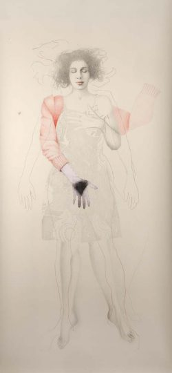 """Sans titre"" graphite, crayon de couleur et photo cousue (113 x 220 m)"