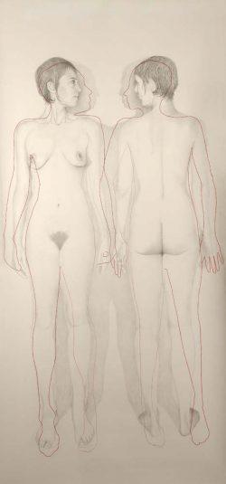 """Double"" 2009 graphite (113 x 220 cm)"