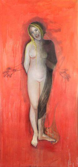 """""""Le cri rouge """" 2010 peinture à l'huile et graphite sur papier  (113 x 220 cm)"""