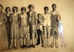 """""""Sagesse"""" 2012 fusain et pastel sur papier marouflé sur toile (3,50 x 2,50 m)"""