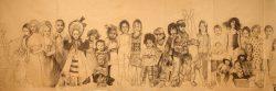 """""""Infans"""" 2014 fusain sur papier marouflé sur toile  (5,50 x 2 m)"""