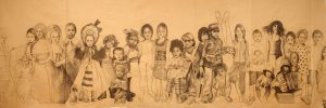"""'Infans"""" 2013 fusain sur papier marouflé sur toile  (5,50 x 2 m)"""