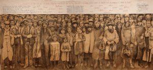 """""""Manifestation silencieuse""""2015 fusain et broderie sur papier marouflé sur toile (5,50 x 2 m)"""