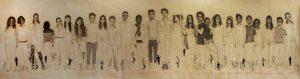 """""""Ados"""" 2015 fusain, sérigraphies et broderie sur papier marouflé sur toile  (9,40 x 2, 50 m )"""