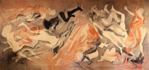 """""""Amour"""" Fusain,pierre noire et sanguine sur papier marouflé sur toile 5,50m x 2, 70 m"""