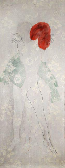 """""""Viens"""" 2014 encre, crayon de couleur, graphite et broderie sur papier marouflé sur toile  (100 x 240 cm"""