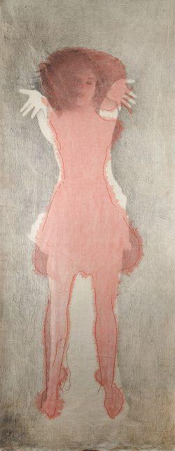 """""""Sans titre"""" encre, broderi et graphite sur papier marouflé sur toile  (100 x 240 cm)"""