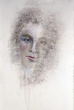 """""""Lydie"""" 2015 huile et pastel sur papier (33 x 50 cm)"""