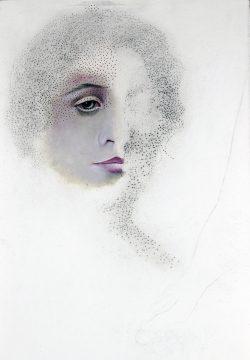 """""""Portrait œil"""" 2015 huile et pastel sur papier (33 x 50 cm)"""