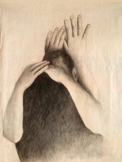 """""""Sans titre"""" 2017 pointe noire sur papier de soie (50 x  60 cm)"""