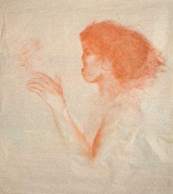 """""""Sans titre"""" 2017, sanguine sur papier de soie (50 x  60 cm)"""