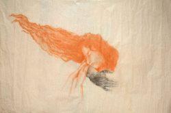 """""""Sans titre"""" 2017 fusain et sanguine sur papier de soie (50 x  60 cm)"""