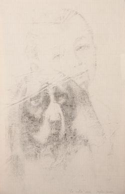 """""""L' enfant et le chien""""2016 fusain sur papier (40 x  50 cm)"""