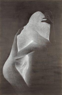 """""""Sans titre"""" 2017 encre et  crayon blanc (80 x 120 cm)"""