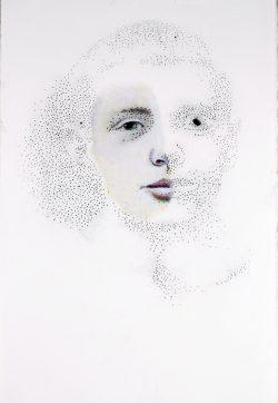 """""""Portrait Œil""""huile et pastel sur papier (33 x 50 cm)"""