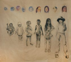 Le temps 01 fusain et crayon de couleur sur papier marouflé sur toile 280cm x 265 cm