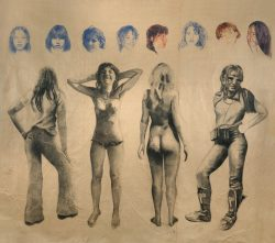Le temps 02, fusain et crayon de couleur sur papier marouflé sur toile 280cm x 265 cm                fusain et crayon de coul