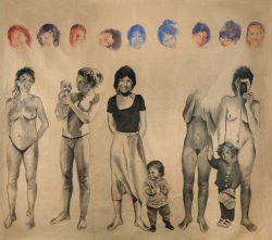 fusain et crayon de couleur sur papier marouflé sur toile 280cm x 265 cmLe temps 03,