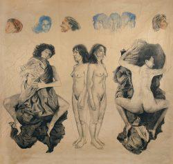fusain et crayon de couleur sur papier marouflé sur toile 280cm x 265 cmLe temps 07,