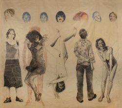 L fusain et crayon de couleur sur papier marouflé sur toile 280cm x 265 cme temps 08,
