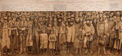 """""""Manifestation silencieuse"""", 2015-2016  fusain et broderie sur papier marouflé sur toile"""
